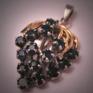 Estate Sapphire Pendant Gold Silver Vintage for Necklace