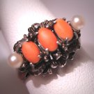 Antique Coral Pearl Ring Italian Vintage
