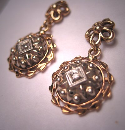 Antique Diamond Earrings Vintage Victorian Art Deco Gold