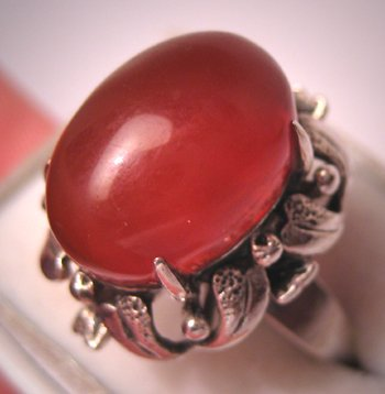Antique Vintage Carnelian Ring Retro Art Deco