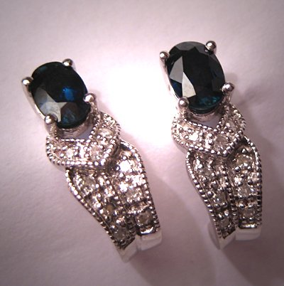 Estate Sapphire Diamond Earrings Art Deco Vintage