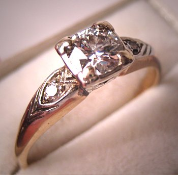 Antique Diamond Wedding Ring Vintage Art Deco Engagement