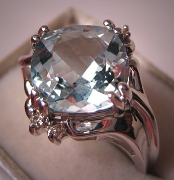 Vintage Aquamarine Diamond Wedding Ring Estate 14K