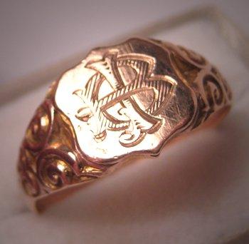 Antique Rose Gold Signet Ring English Wedding Band 9ct