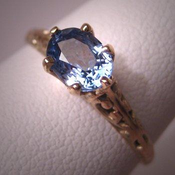 Antique Sapphire Ring Vintage Victorian Art Deco Wedding Ring
