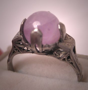 Antique Art Deco Amethyst Ring White Gold Filigree