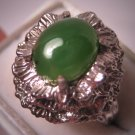 Antique Vintage Jade Ring Retro Deco Silver