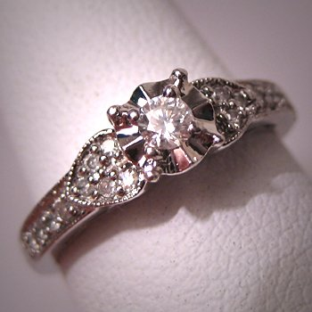 Vintage Diamond Wedding Ring White Gold Deco Engagement