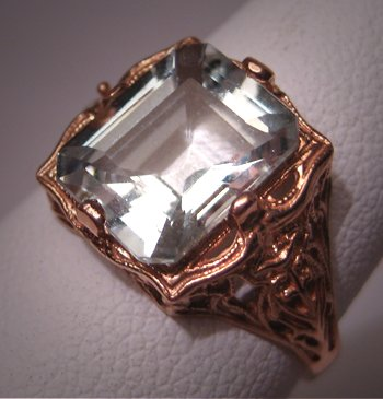 Estate Vintage Aquamarine Ring Art Deco Rose Gold Wedding