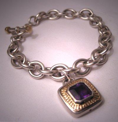 Estate Designer Amethyst 14K Gold Charm Bracelet Signed