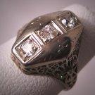 Antique Diamond Wedding Ring 18K White Gold Art Deco