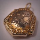 Antique Gold Locket Pendant Vintage Art Nouveau Heart  for Necklace