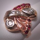 Antique Platinum Diamond Ruby Ring Art Deco Wedding 30s