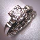 Antique Wedding Ring Set Vintage Diamond Deco Wt. Gold