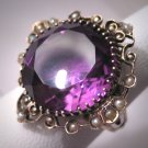 Regal Antique Amethyst Seed Pearl Ring Victorian Gold