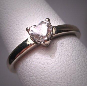 Vintage Diamond Heart Wedding Ring 1/2 Carat Engagement