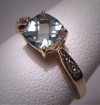 Vintage Aquamarine Diamond Wedding Ring Estate Gold