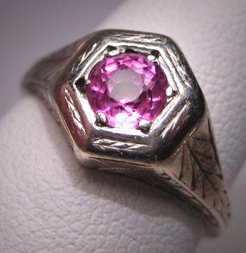 Antique Pink Sapphire Wedding Ring Vintage Art Deco 14K