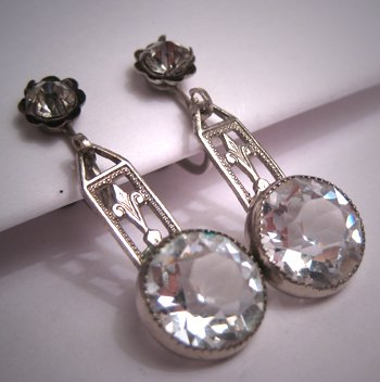 Antique French Paste Earrings Vintage Art Deco Rhodium