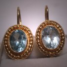 Victorian Style Topaz Earrings Gold Gilt Etruscan Drop