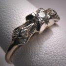 Antique Diamond Wedding Ring Vintage Art Deco Band 14K