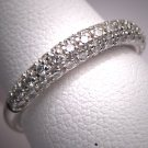 Vintage Diamond Wedding Ring Band White Gold 3Row 1/2ct