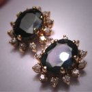 Vintage Blue Sapphire Diamond Earrings Estate 14K Gold