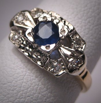 Antique Royal Sapphire Diamond Wedding Ring Vintage 30s