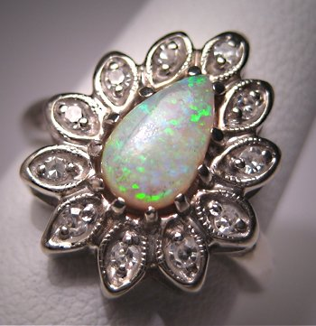 Vintage Australian Opal Diamond Ring Antique Retro Deco