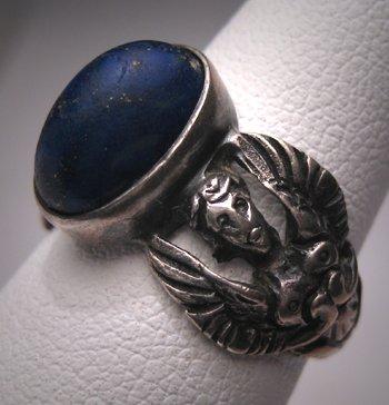 Antique Rennaisance Revival Lapis Ring Victorian Silver