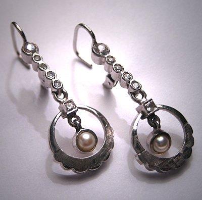 Antique White Sapphire Earrings Vintage Art Deco W Gold