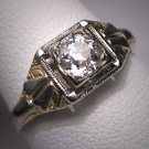 Antique Diamond Wedding Ring Vintage Art Deco Half CT