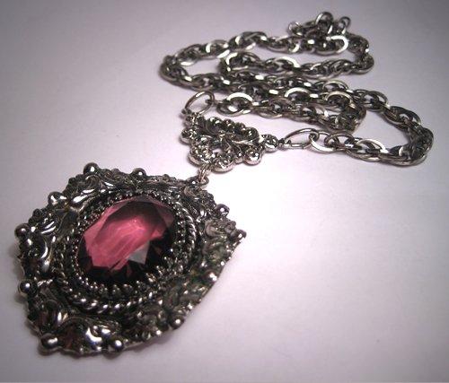 Vintage Art Nouveau Amethyst Necklace Victorian Chain