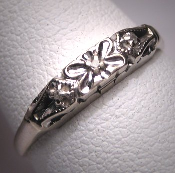 Antique Diamond Wedding Band Ring Vintage Art Deco W.G.