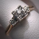 Antique Wedding Ring Euro Diamond Vintage Art Deco Gold