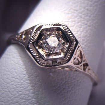 Antique Diamond Wedding Ring Vintage Art Deco White Gld