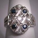 Vintage Platinum Diamond Sapphire Wedding Ring Art Deco