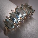 Vintage Aquamarine Diamond Wedding Ring Band Gold 14K