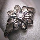 Vintage Diamond Wedding Ring White Gold Art Deco Floral