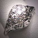 Antique Diamond Wedding Ring Vintage Deco Engagement WG