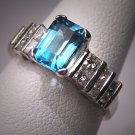 Vintage Aquamarine Diamond Wedding Ring White Gold Deco