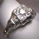 Antique Diamond Wedding Ring Vintage Art Deco Filigree