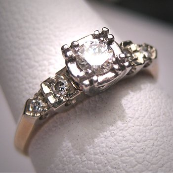 Antique Diamond Wedding Ring Vintage Art Deco Band 5
