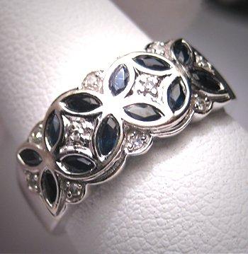 Vintage Sapphire Diamond Wedding Ring Band Deco W. Gold