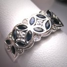 Vintage Sapphire Diamond Wedding Ring Band Deco W. Gold