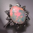 Vintage Australian Opal Diamond Ring Estate Wedding W.G