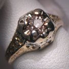 Antique Champagne Diamond Wedding Ring Vintage Deco 14k