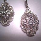 Vintage Diamond Earrings Art Deco Style White Gold Drop