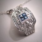Gorgeous Vintage Sapphire Diamond Necklace, Art Deco Style White Gold