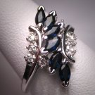 Vintage Sapphire Diamond Ring Wedding White Gold Deco